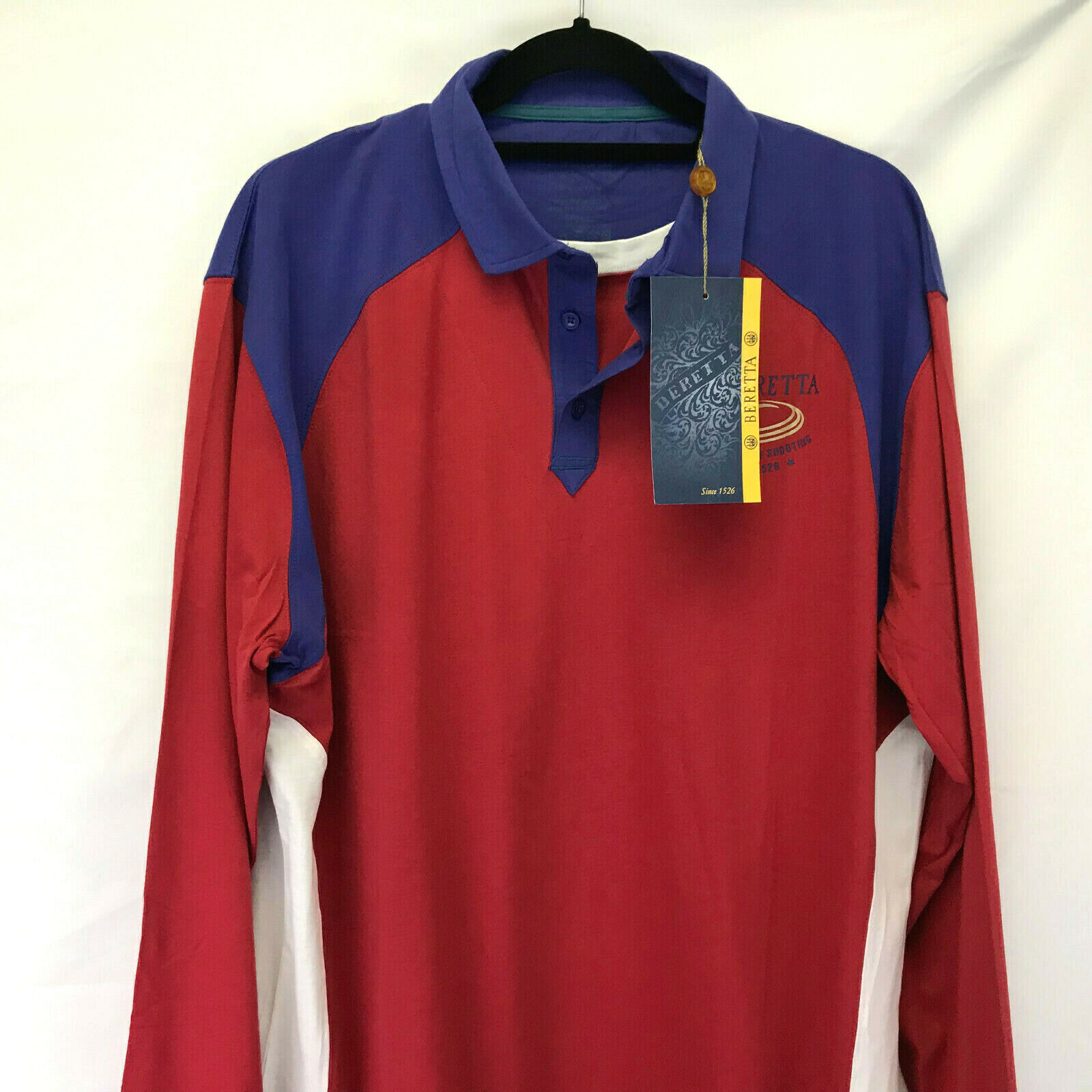 BERETTA SHOOTING SHIRT SIZE L LARGE US blueE RED TS34  DOUBLE COLLAR LONG SLEEVES  fantastic quality
