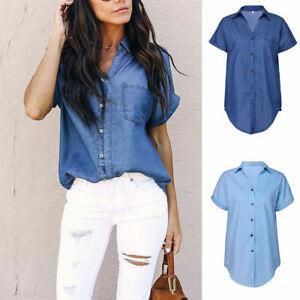 Women-Denim-Jeans-Short-Sleeve-T-Shirt-Blouse-Summer-Beach-Button-Pocket-Tops