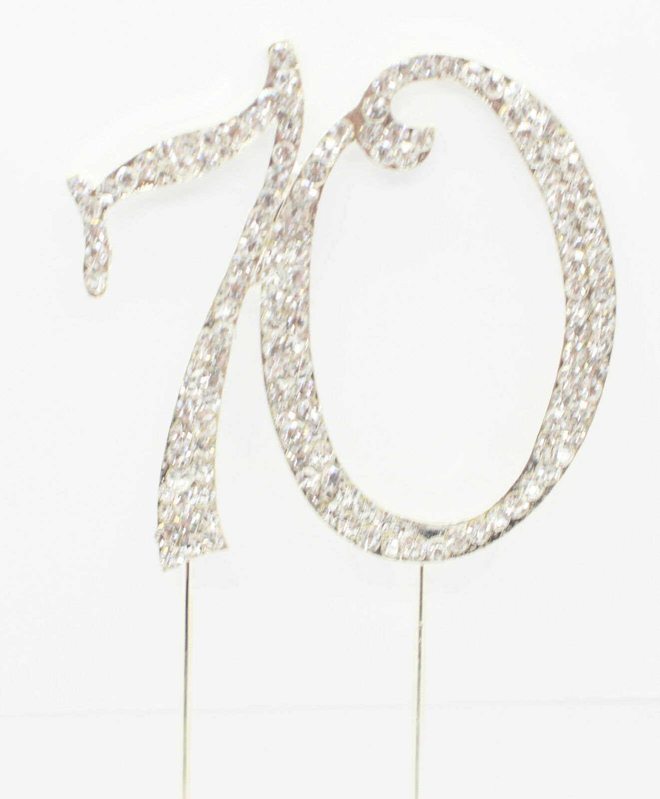 Rhinestone Birthday Cake Topper Number Pick 70th Diamante Gems