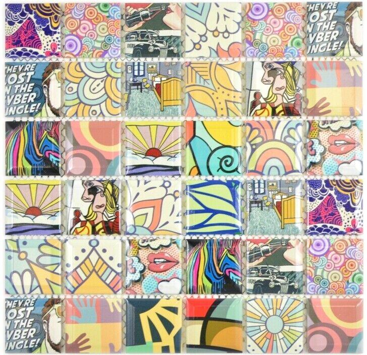 Keramik Mosaik POP crazy bunt Küche Dusche Bad Fliesenspiegel 14-1606_f 10Matten