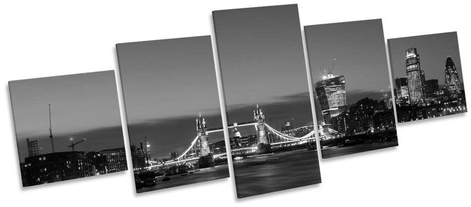 City of London Tower Bridge Skyline B&W MULTI CANVAS WALL ART Box Frame Picture