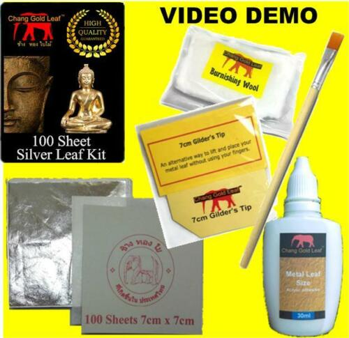 Silver leaf Kit 100 LARGE Silver Sheets Brushes Gilding Crafts Design Adhesive