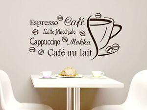 Details zu Wandtattoo Wandaufkleber Tattoo Sprüche für Küche Espresso Café  Cappuccino