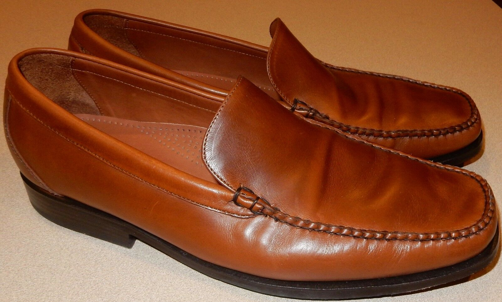 Mens Size 11 Brown Leather Loafers Slip On Cole Haan