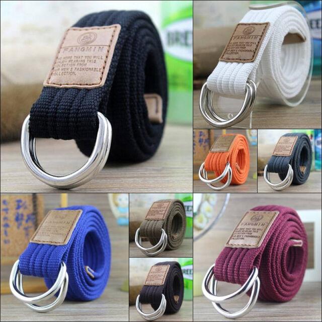 Women Men/'s Unisex Casual Double D-Ring Striped Waist Waistband Canvas Belt WE
