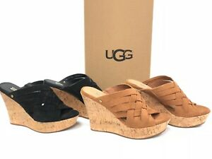 dd0baea9b40 Details about Ugg Australia Marta Platform Wedge Slides Sandals Slide  1015079 Suede Women's
