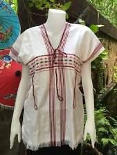 NEW Thai 100% Cotton Folk Ethnic Embroidered Karen Shirt Tops Blouses Hill Tribe