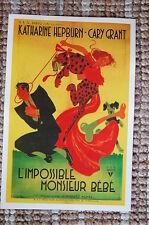 L'impossible Monsieur Bebe (Bringing up baby)Lobby Card Poster Cary Grant Hepbur