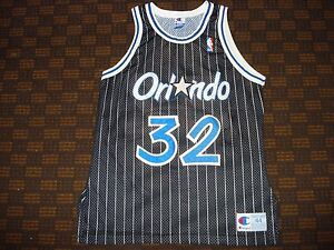 lowest price fb709 7cb08 Details about Vintage Authentic Orlando Magic Shaquille Shaq O'Neal Black  Pinstripe Jersey 44