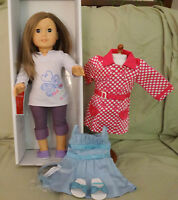 American Girl Doll 59 Br Hair Br Eyes & Double Bow Dress & Rainy Day Coat -new