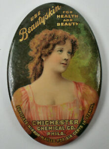 Vintage BEAUTYSKIN Pocket Mirror Featuring a Pretty Woman