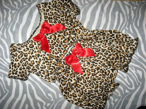 leopard baby outfit Girls Black brown red T-shirt top Bloomers Headband Gift set