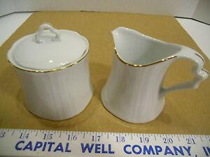 Details about Sango Aristocrat Collection Sugar & Creamer Set White 1101