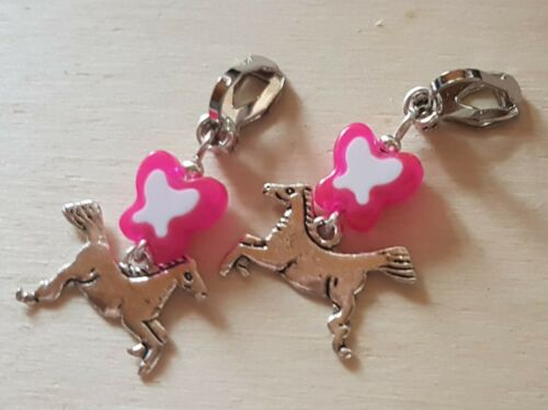 Orejas kinderohrclips delgada Pony mariposa rosa blanco
