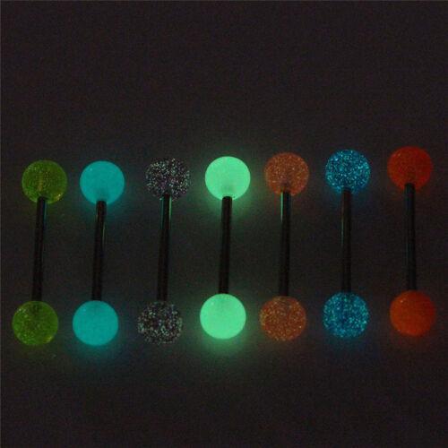 7x//Set Glow dans l/'obscurité lumineuse barre de langue anneaux piercing bij LC