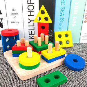 Wooden Shape Building Blocks Montessori Math Educational Toys Sorting Board