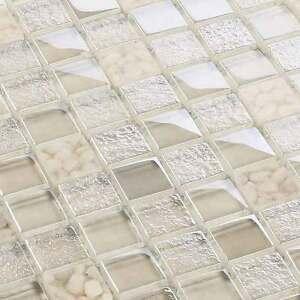 Glasmosaik fliesen mosaik crystal pebbles beige creme 8 mm ebay - Crystal mosaik fliesen ...