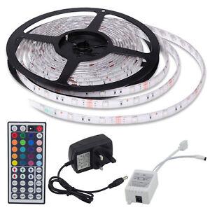 10-5M-SMD-5050-3528-RGB-150-300-600-LED-Strip-Adapter-IR-Remote-Waterproof-Kit