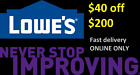 One (1) 40 off 200 EXP 12/31 lowes ONLINE ONLY