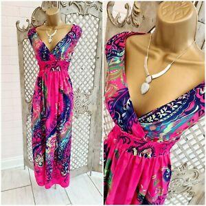 Kushi 💋 Hot Pink Tropical Floral Print Maxi Dress UK 10 Summer Boho Peasant