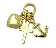 375 ECHT GOLD ***  Kleiner Anhänger Glaube-Liebe-Hoffnung, 19 mm