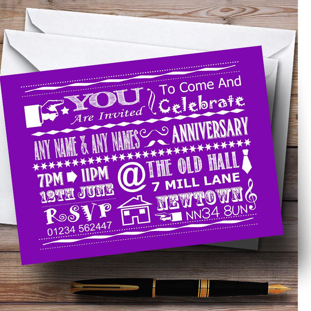 Cool Fun Chalk Typography lila lila lila Personalised Anniversary Party Invitations 6f5856