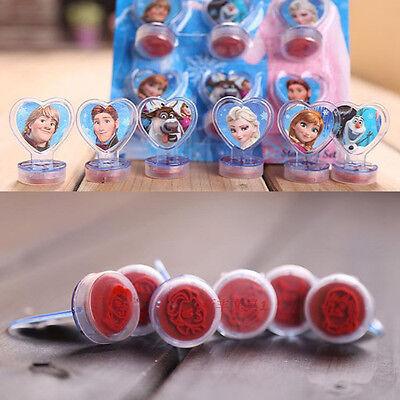 6pcs Cute Movie Frozen Princess Figures Self Inking Seal Stamp Set Kids Toy Gift