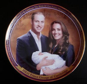 Prince George Birth Plate With Parents Prince William & Catherine - Danbury Mint