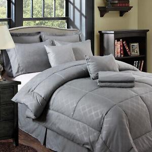 10-piece-Solid-Plaid-Comforter-Set