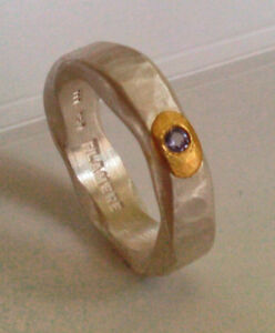 Ring-Feinsilber-999-Tansanit-Goldapplikation-Flamere-by-Dieter-Fischer