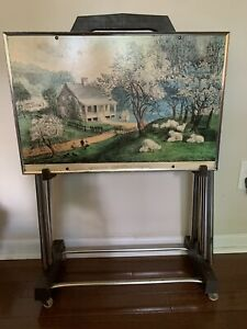 Vintage-Set-Of-4-Currier-amp-Ives-TV-Trays-Folding-With-Stand-23-X-15-Seasons
