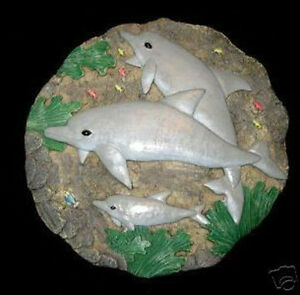 Image Is Loading Round Dolphins Concrete Or Plaster Garden Stepping Stone