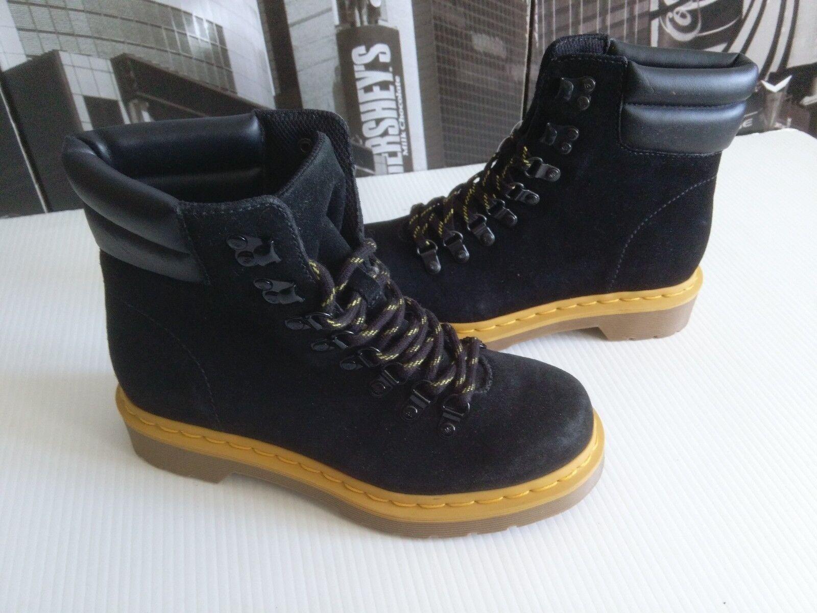 Nuevo Dr. Martens Iris Gamuza Cuero Negro botas con Cordones para Mujer US 9