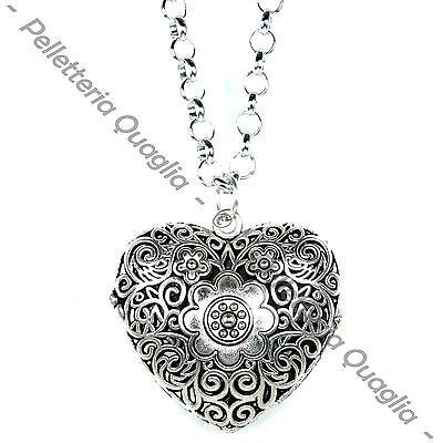 Collana Catena Lunga Regolabile Ciondolo Argento Tibetano Cuore Amore Sonaglio