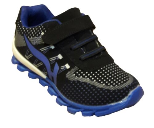 Childrens Boys Quality Sports Fashion Trainers Soccer Heel Emblem Blue New Boxed