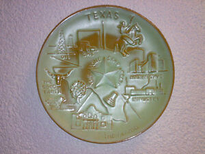 Wandteller-Wall-Plate-FRANKOMA-Pottery-TEXAS-The-Lone-Star-State-Dia-21-5-cm