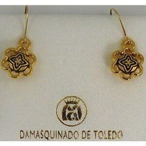 Damascene-Gold-Geometric-Design-Drop-Earrings-by-Midas-of-Toledo-Spain