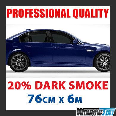 PRO QUALITY DARK SMOKE BLACK 20/% CAR WINDOW TINT ROLL 6M x 76CM FILM TINTING