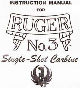 Ruger No. 3 Single Shot Carabine Manuel D'instruction - 1980-afficher Le Titre D'origine