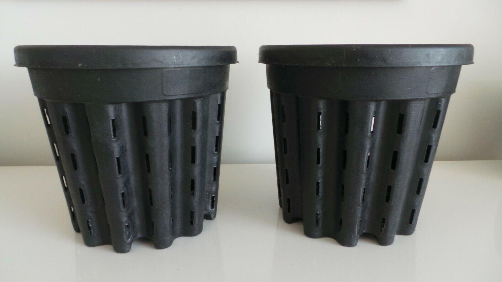 Ercole Black Aquatic Hydropnic Pots Vented For Great Root Air flow 3ltr 19cm