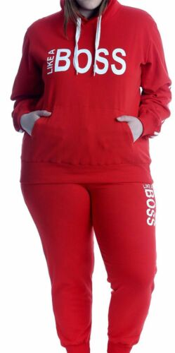 Womens Like A Boss Printed Tracksuit Ladies Jogging Sports Loungewear Suit