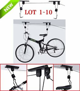 Bicycle Lift Bike Ceiling Mount Pulley Rack Garage Storage Hooks Hanger LOT BP