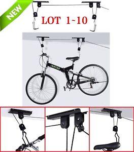 Bicycle Lift Bike Ceiling Mount Pulley Rack Garage Storage Hooks Hanger LOT BP