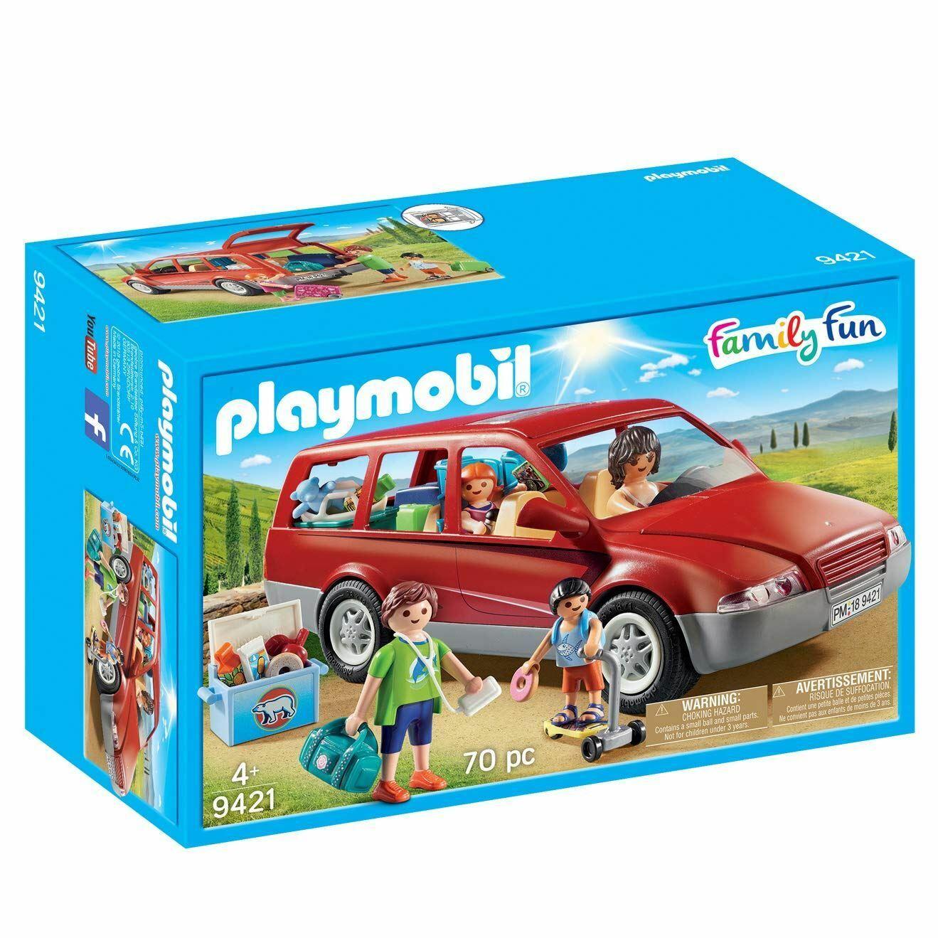 Playmobil 9421 Fun Family Car with Trailer Hitch, Various