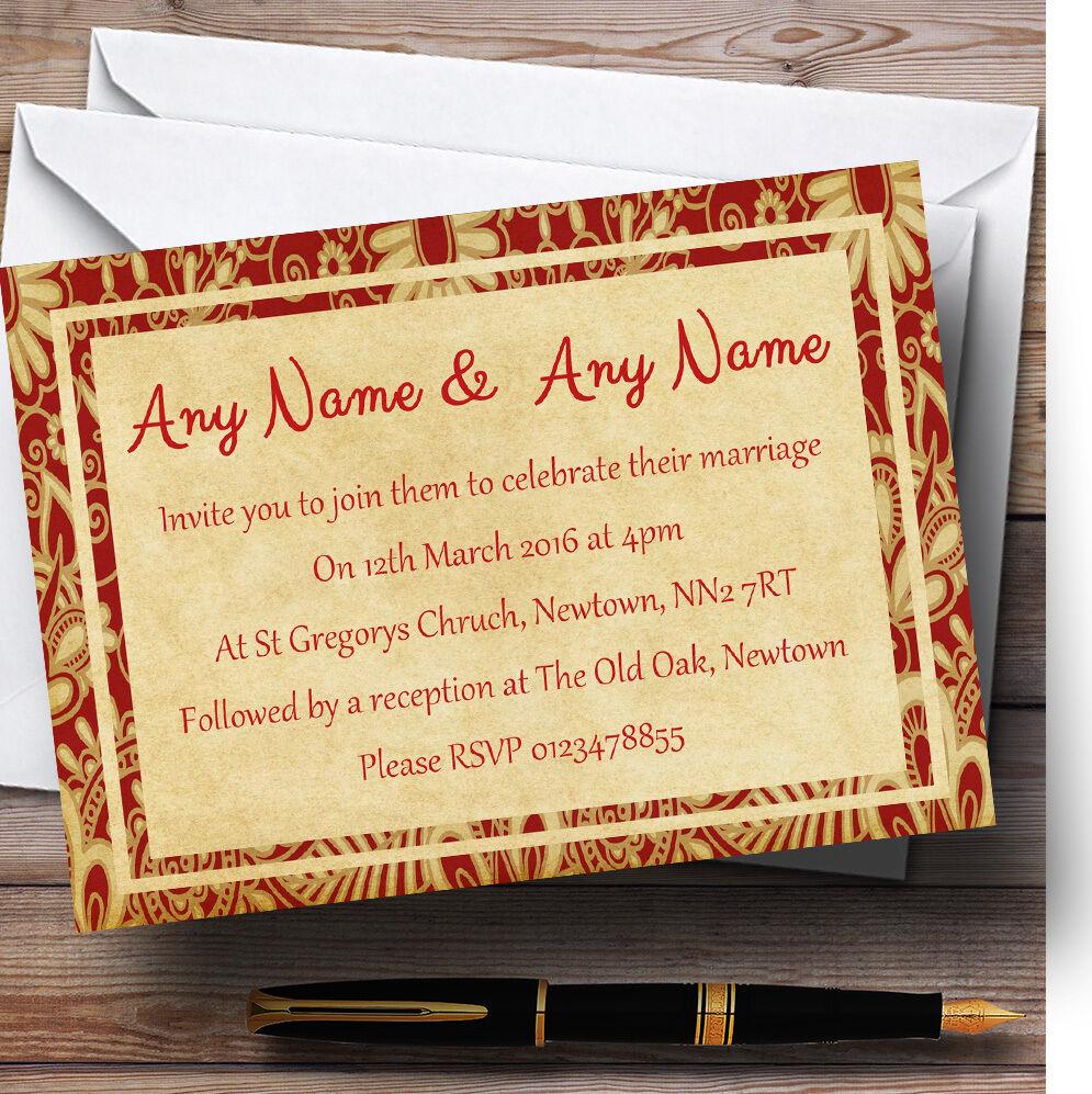 Vintage royal Rouge  carte postale style personnalisé mariage invitations invitations mariage f04603