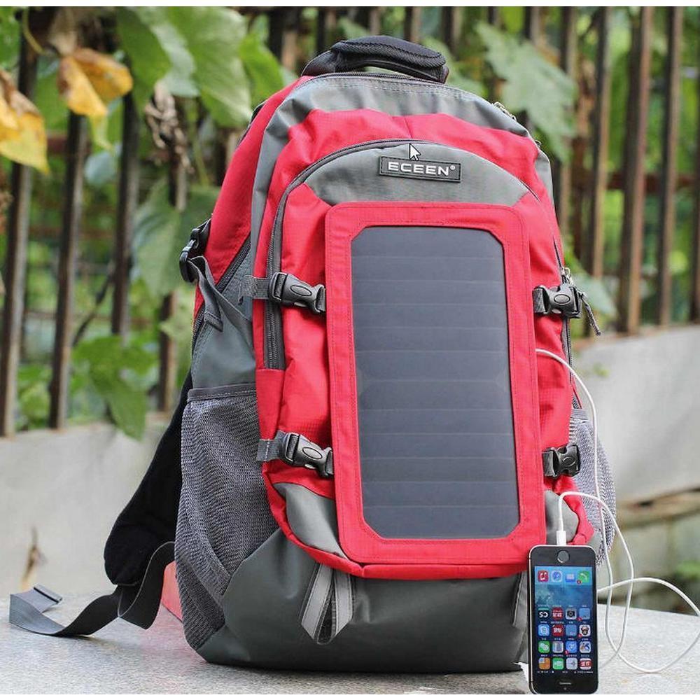 rouge Solar Power eceen Sac à dos 10k mAh Batterie Pour Charger 7-Watt Panneau