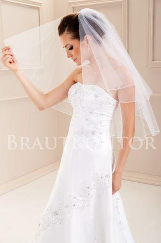 bks-180 mariée voile perles mariage voile 2 plis Blanc Off-white ivory