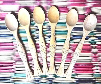 6 Pieces coffee /& Tea spoons Small wooden Thai handmade Rose Wood kitchenware