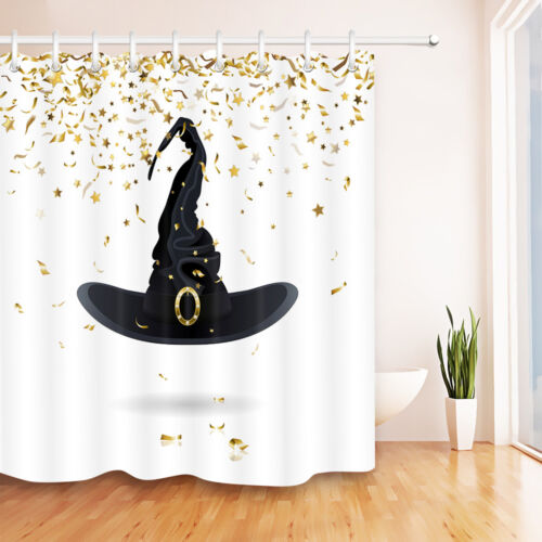 Carnival Witch Hat with Confetti Bathroom Waterproof Fabric Shower Curtain Set
