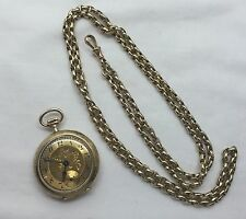 Solid Rare 12.5 Ct Gold Victorian Engraved Ladies Fob Pocket Watch & Chain